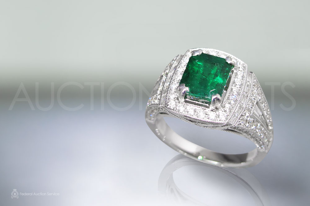 1.65ct Emerald Cut Emerald and Diamond Ring Sold For $7,500
