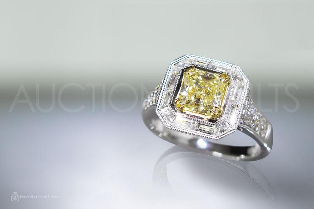 EGL Certified 1.19ct Fancy Yellow Diamond Ring sold for $7,600