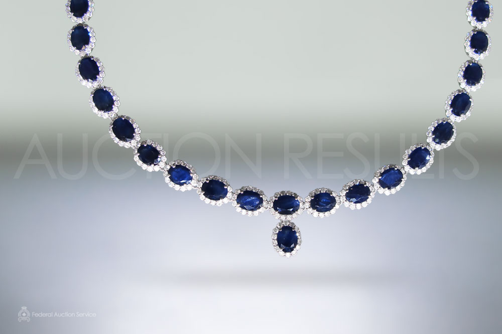 14k White Gold 60ct (TW) Blue Sapphire and Diamond Necklace sold for $13,200