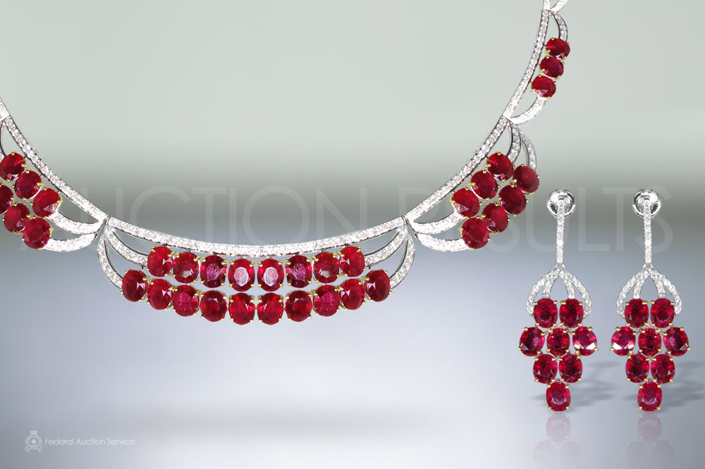 Elegant 18k White/Yellow Gold 51ct (TW) Ruby and Diamond Necklace and Earrings Set sold for $42,000