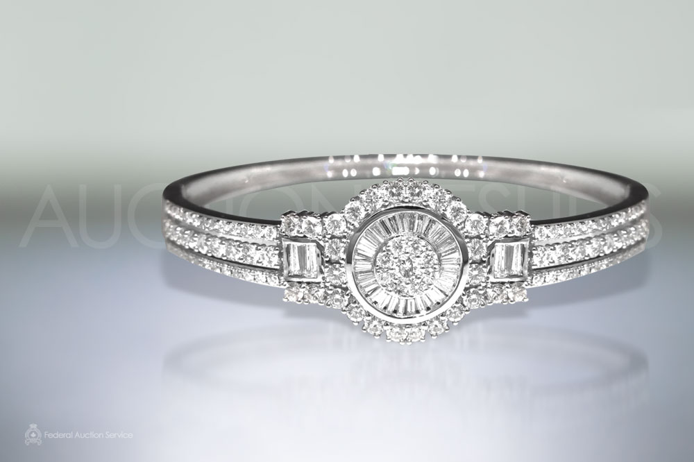 18k White Gold Diamond Bangle sold for $6,500