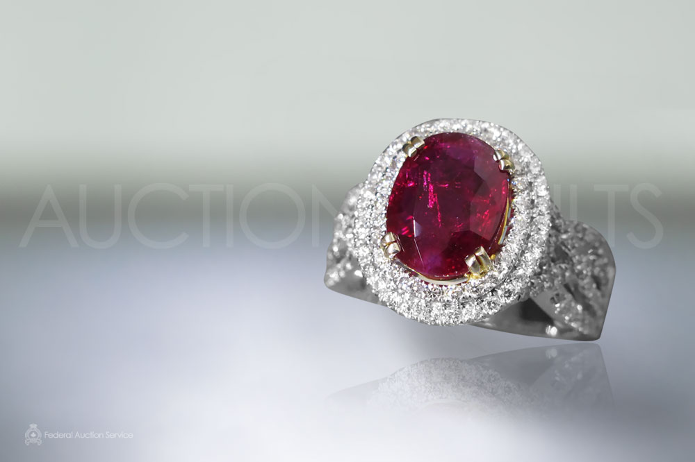 GIA Certified 3.06ct Oval Cut Unheated Ruby and Diamond Ring sold for $26,000
