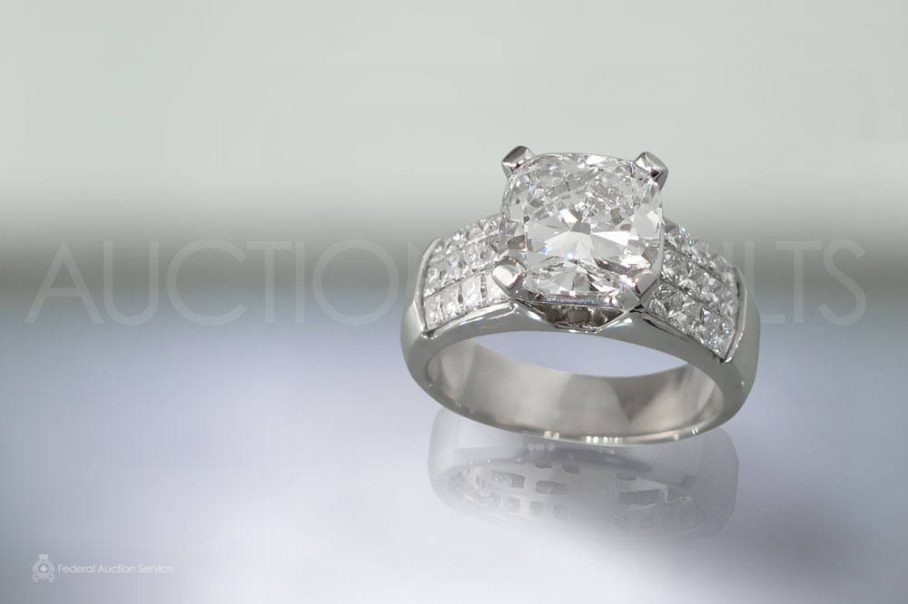 EGL Certified 3.01ct Cushion Cut Diamond Ring sold for $35,000