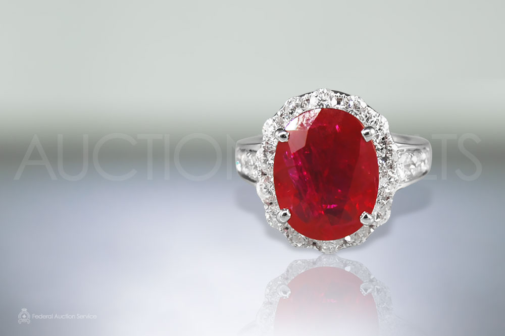 AIGS Certified 6.6ct Burma Ruby Ring sold for $41,000