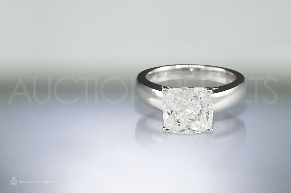 3ct Cushion Cut Diamond Ring sold for $18,500