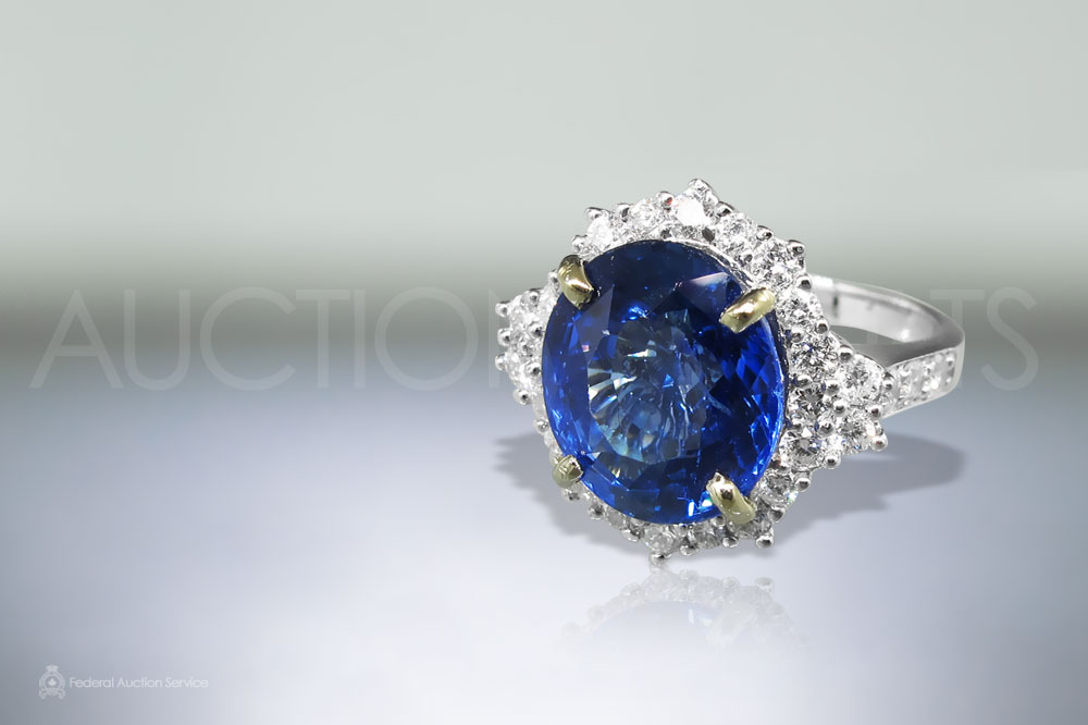 7.15ct Oval Shape Brilliant Cut Blue Sapphire and Diamond Ring sold for $23,000