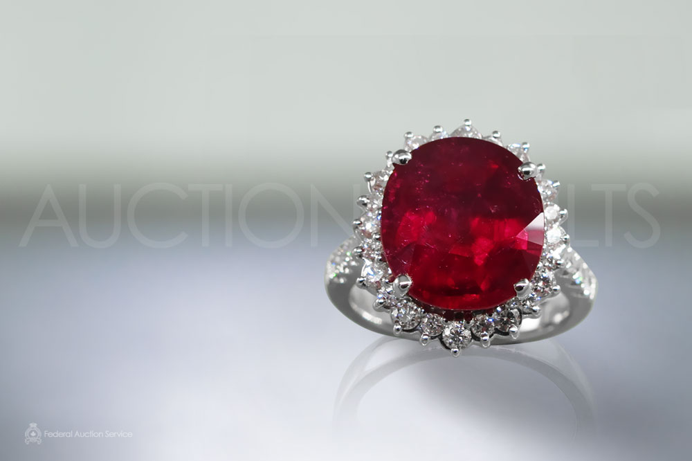 GIA Certified 8.50ct Cushion Cut Ruby and Diamond Ring sold for $46,000