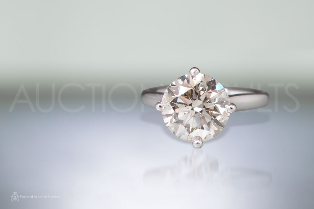 EGL Certified 3.01ct Round Brilliant Cut Diamond Ring sold for $22,500