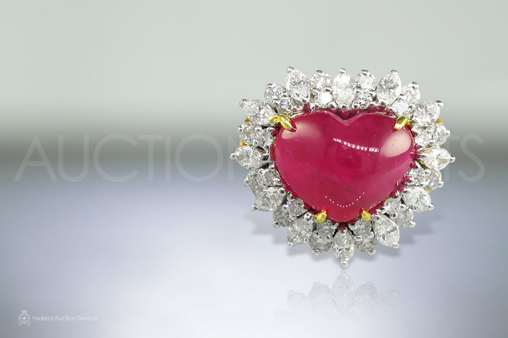 5.81ct Heart Shape Cabochon Cut Burma Ruby and Diamond Ring sold for $12,000