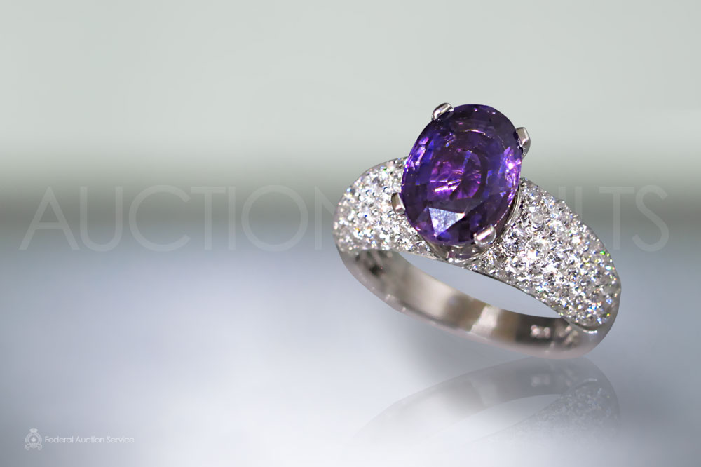 GIA Certified 2.95ct Oval Cut Unheated Purple Sapphire and Diamond Ring sold for $10,500