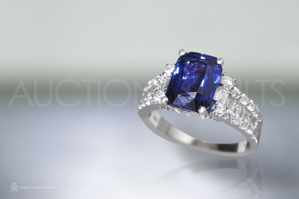 GIA Certified 3.61ct Octagonal Cut Unheated Violetish Blue Sapphire Ring sold for $13,000