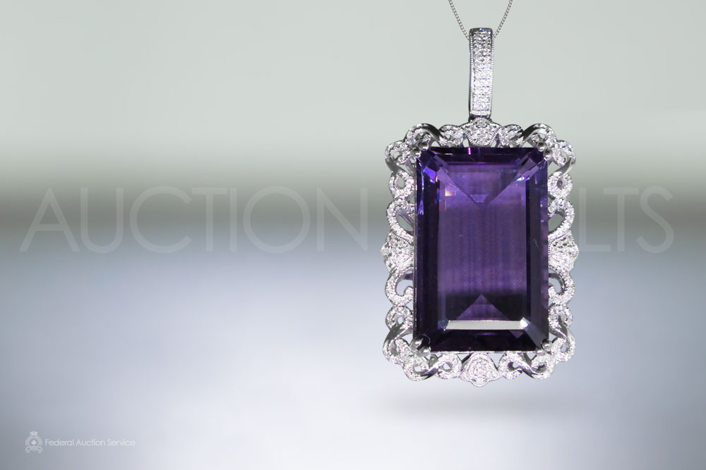 Lady's 14k White Gold 35ct Amethyst and Diamond Pendant sold for $2,600