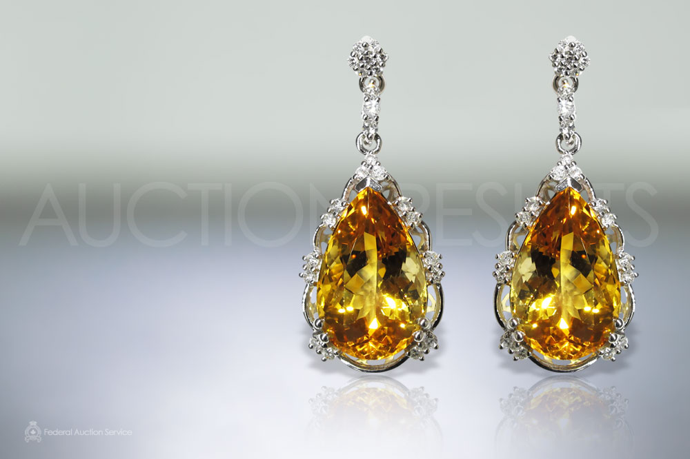 14.74ct (TW) Citrine and Diamond Earrings sold for $2,700