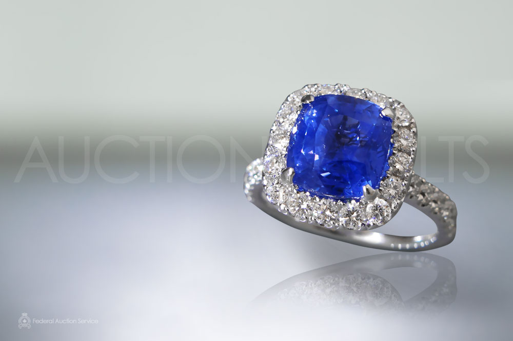 GIA Certified 5.02ct Cushion Cut Unheated Blue Sapphire Ring sold for $15,000