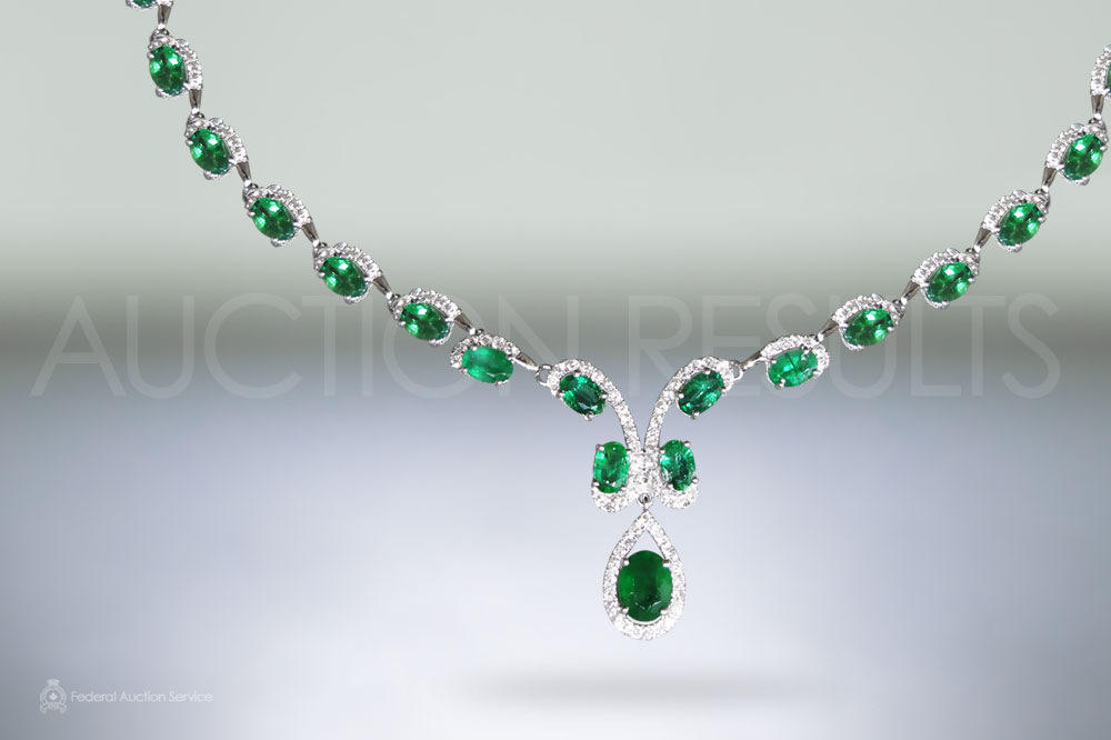 14k White Gold 18ct (TW) Emerald and Diamond Necklace sold for $7,500