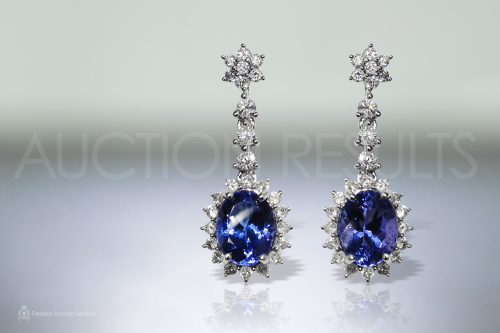 Lady's 14k White Gold 4.7ct (TW) Tanzanite and Diamond Dangling Earrings sold for $4,100