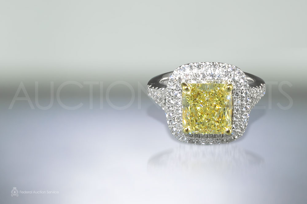 2.3ct Fancy Yellow Diamond Ring sold for $27,000