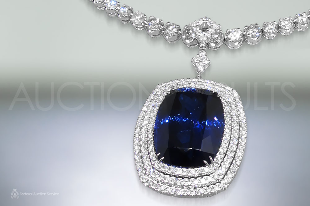 AGL Certified 54.78ct Cushion Cut Unheated Natural Bluish Violet Tanzanite and Diamond Pendant Necklace sold for $60,000
