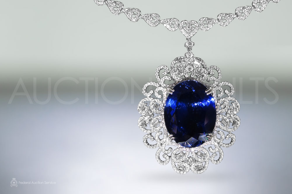 CGL Certified 44.7ct Unheated Tanzanite and Diamond Pendant Necklace sold for $45,000