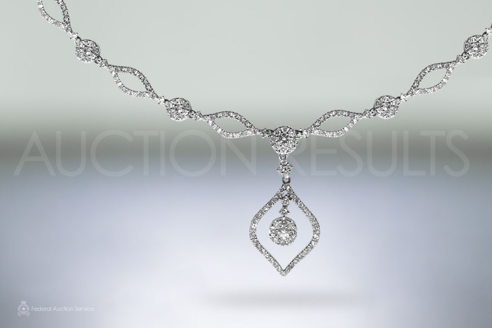 Lady's 14k White Gold Diamond Necklace sold for $3,500