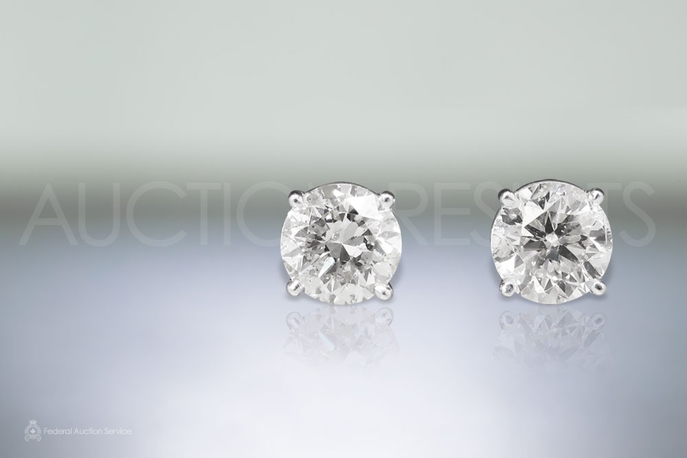 EGL Certified 4.16ct (TDW) Round Brilliant Cut Diamonds Earrings Sold For $19,000