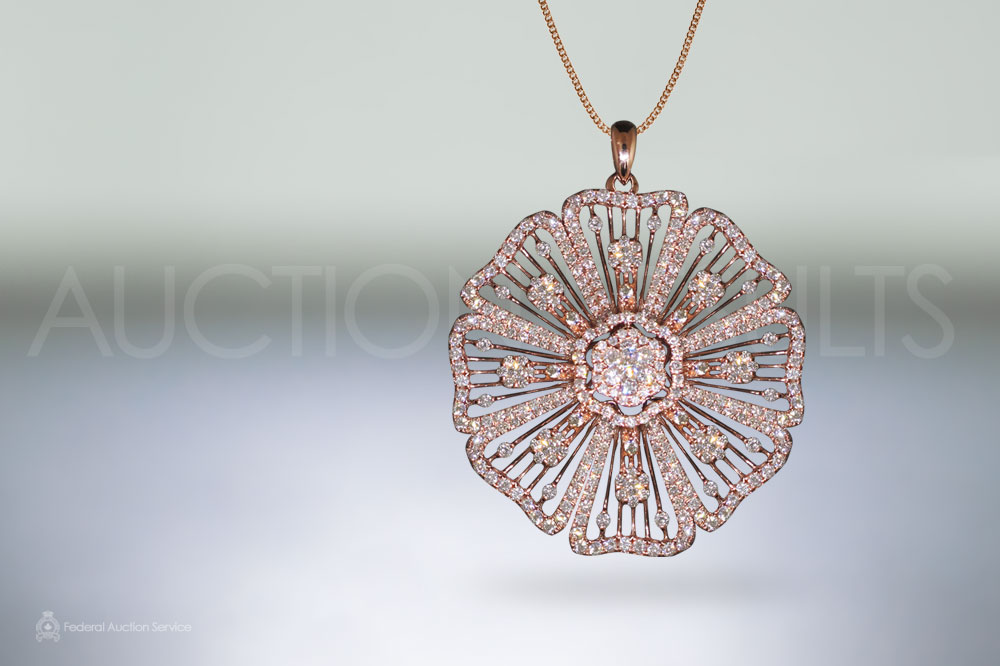 Elegant 18k Rose Gold 5ct (TDW) Cluster Diamond Flower Pendant sold for $8,000