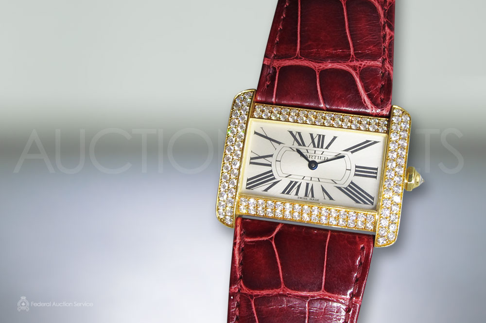 Cartier 'Tank Divan Xl' Quartz Wristwatch with Diamond sold for $15,100