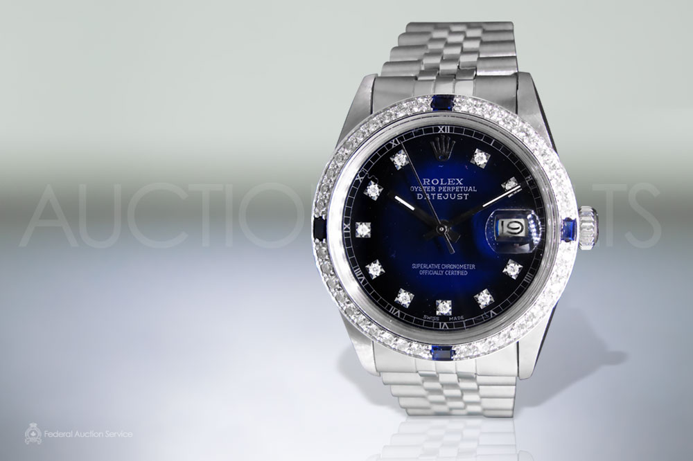 Men's Stainless Steel Rolex Datejust Automatic Wristwatch with Diamonds and Blue Sapphires sold for $9,000
