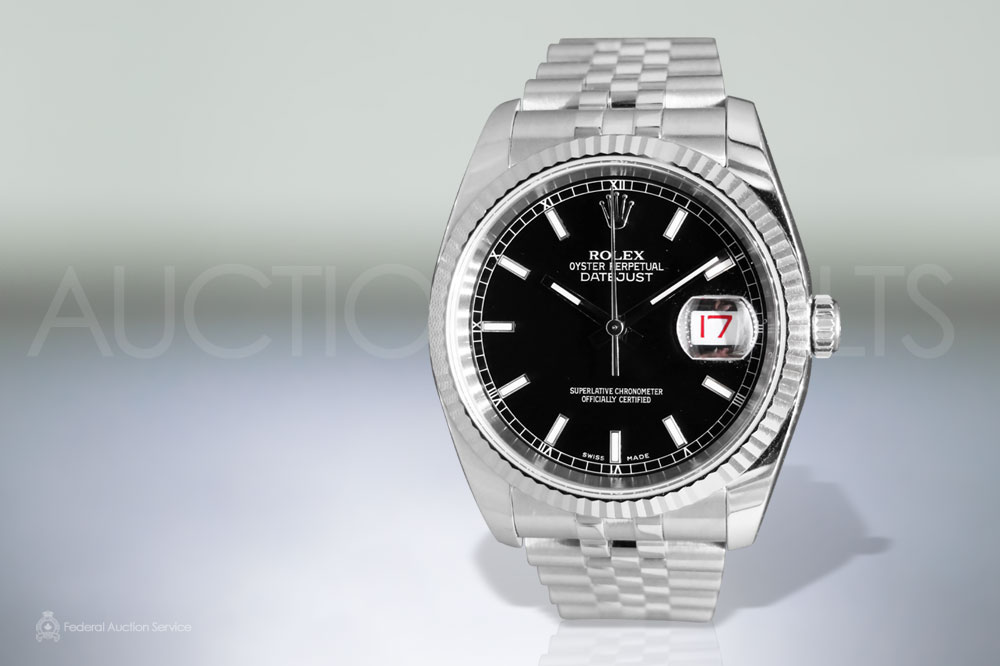 Men's Stainless Steel Rolex Datejust Automatic Wristwatch sold for $5,500