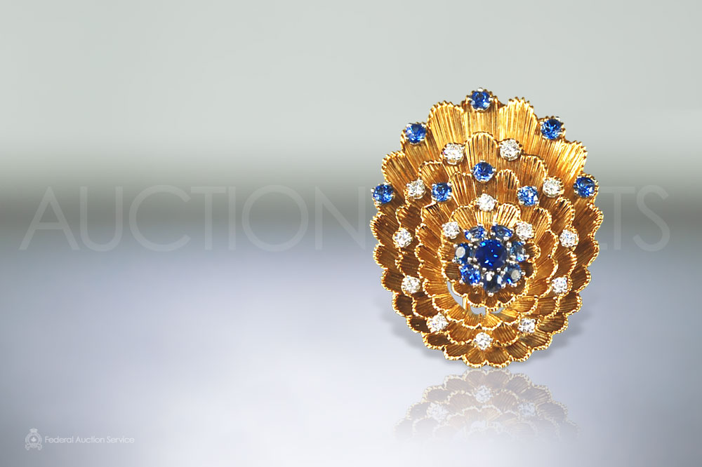 Lady's Sapphire and Diamond Brooch sold for $1,600