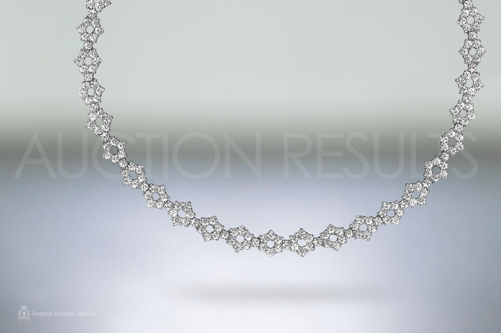 Elegant 18k White Gold 20ct (TDW) Diamond Necklace sold for $28,000