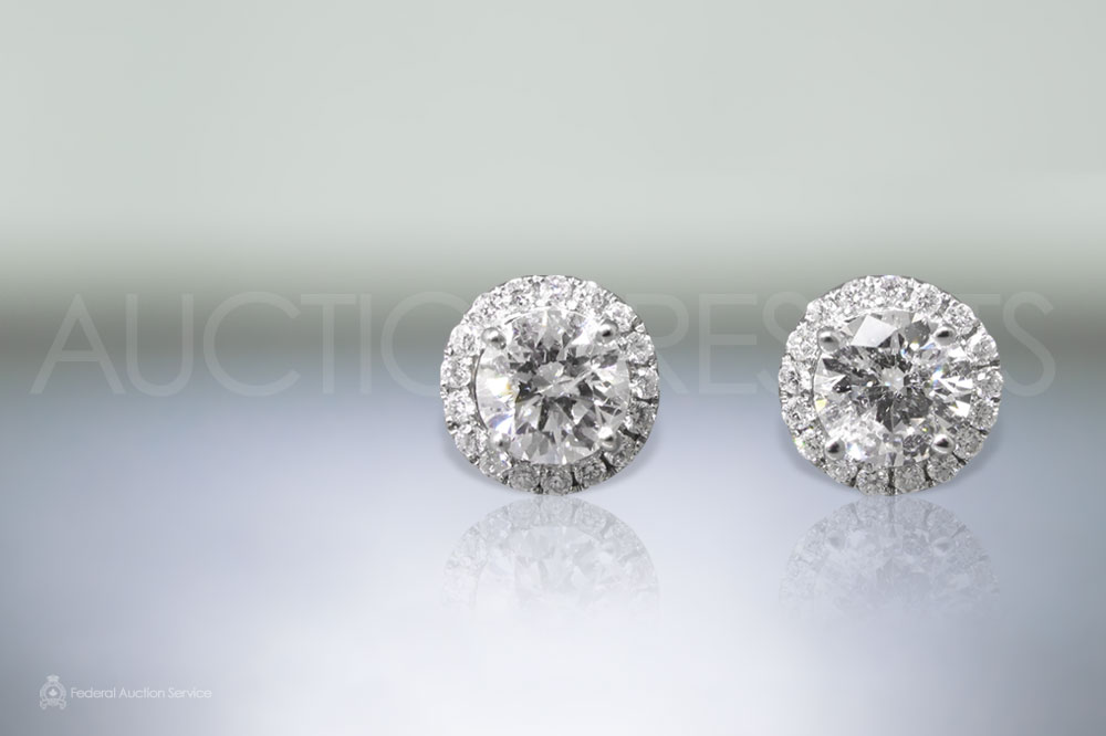 Lady's 18k White Gold 2.08ct (TDW) Diamond Earrings sold for $14,500