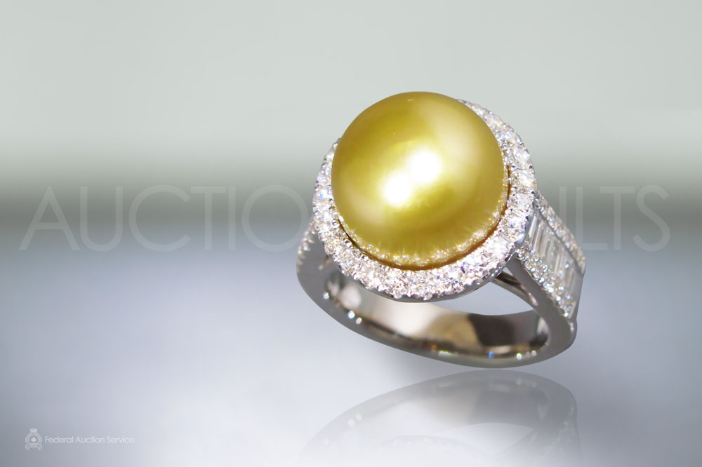 Lady's 18k White Gold South Sea Golden Pearl (Apx. 12mm) and Diamond Ring sold for $5,050
