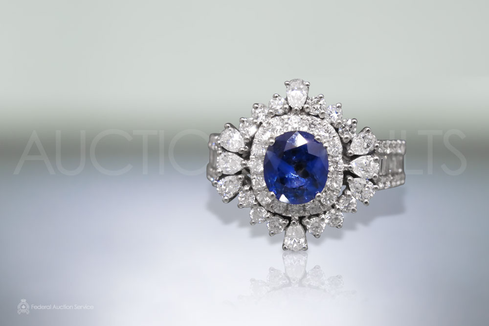 Lady's 18k White Gold 1.66ct Blue Sapphire and Diamond Ring sold for $5,000