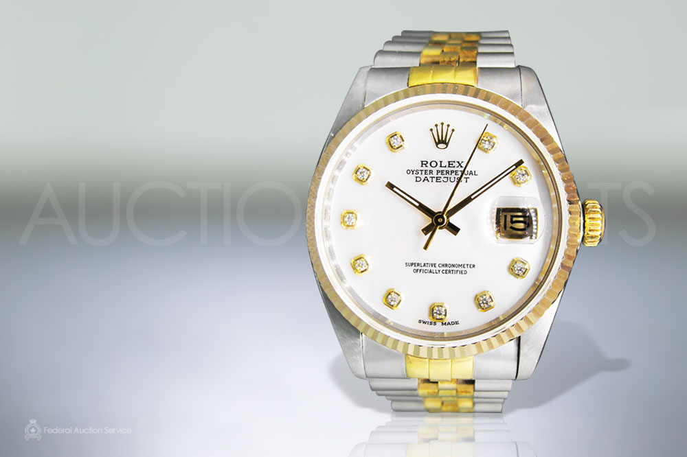 Men's 2 Tone Datejust Rolex Automatic Wristwatch with Diamond Dial sold for $7,100