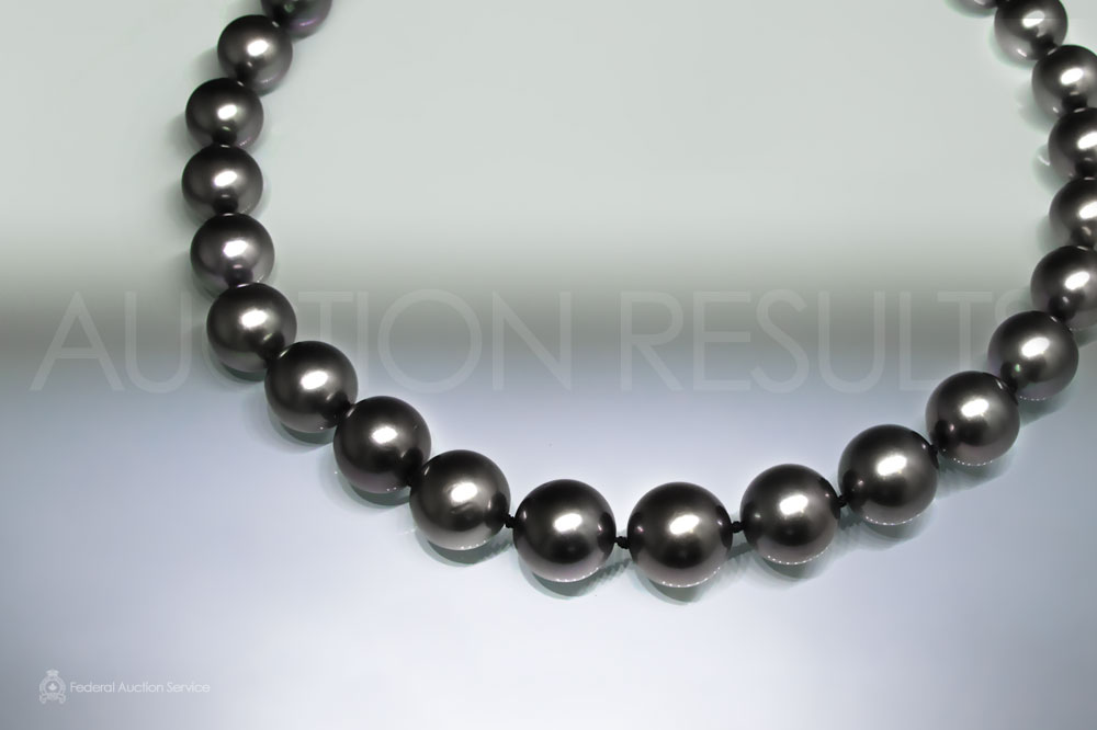 Hand Knotted Tahitian Black Pearl Necklace (Apx. 12-14mm) sold for $7,000