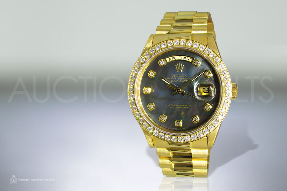 Men's 18k Yellow Gold Rolex Presidential Day-Date Automatic Wristwatch with Mother of Pearl Dial sold for $19,000