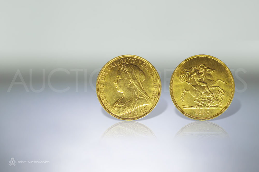 Rare Great Britain 5 Sovereigns Gold Coin, Minted In 1893. Uncirculated Condition sold for $3,100