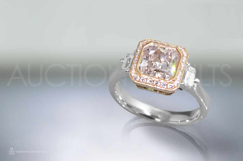 1.42ct Modified Square Brilliant Cut Fancy Light Pink Diamond Ring sold for $18,000