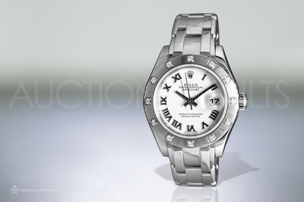 Lady's 18k White Gold Rolex 'Pearlmaster' Automatic Wristwatch with Diamond Dial sold for $13,000