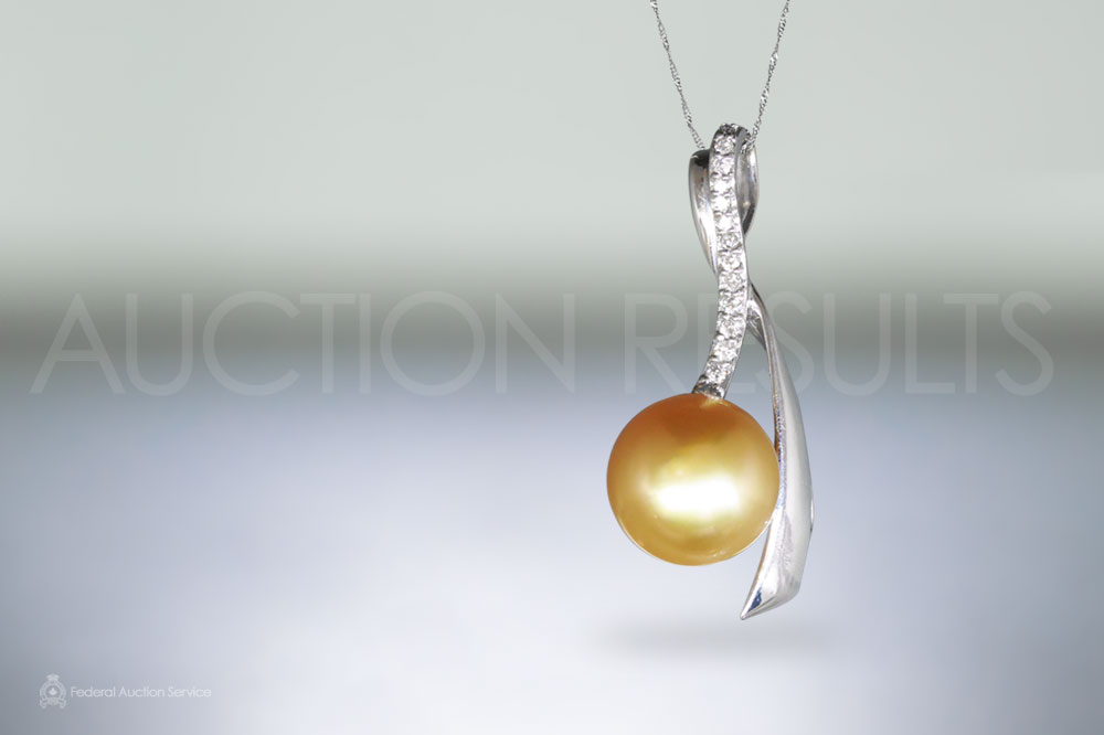 18k White Gold Golden South Sea Pearl and Diamond Pendant sold for $4,600